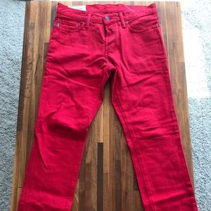 Abercrombie & Fitch mens red denim jeans